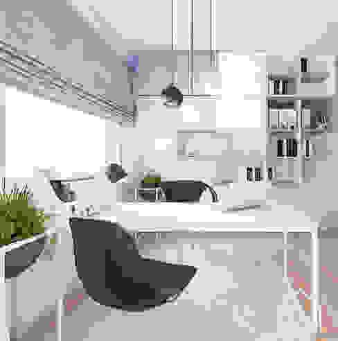 Mieszkanie pod Krakowem Wnetrza od NOWA Skandynawskie domowe biuro i gabinet Szary