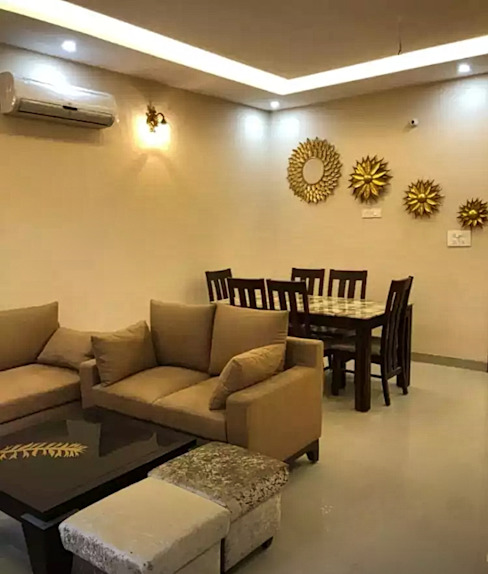 Living Room With Dining Table Homagica Services Private Limited Living roomAccessories & decoration