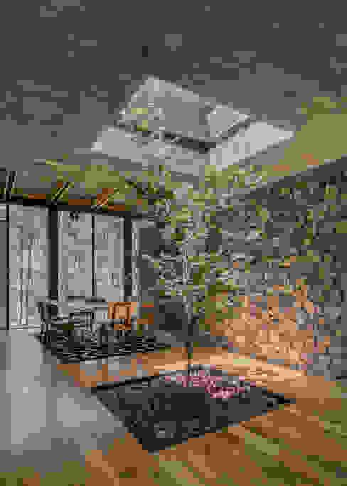 Saavedra Arquitectos Sala da pranzo moderna Cemento Grigio