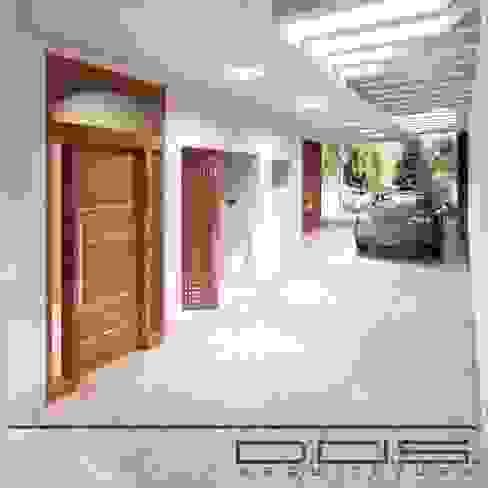 Acesso e garagem Residência H. P. por D.O.S. Arquitetura Moderno Concreto