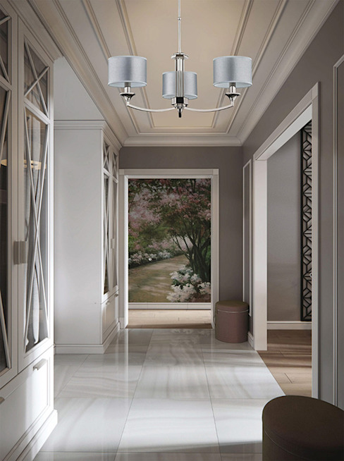 Grey hallway with Versace chandelier decorated by Swarovski Crystals Classic style corridor, hallway and stairs by Luxury Chandelier Classic Copper/Bronze/Brass