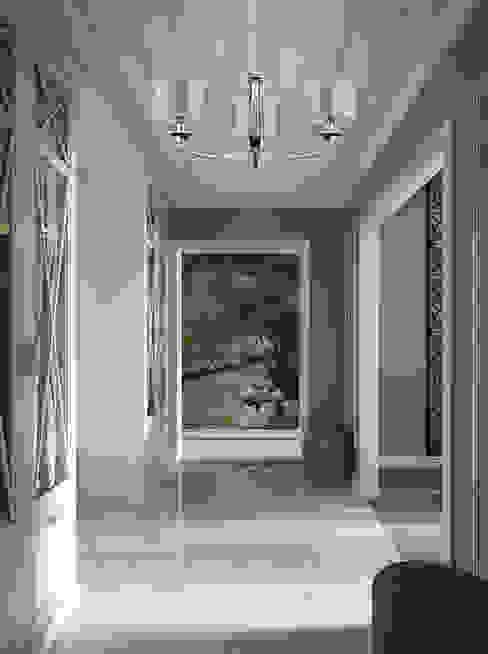 Grey hallway with Versace chandelier decorated by Swarovski Crystals Classic style corridor, hallway and stairs by Luxury Chandelier Classic Copper/Bronze/Brass