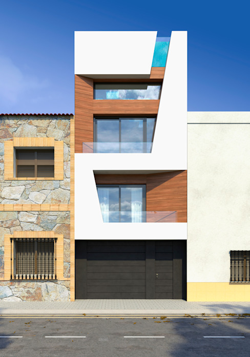 Fachada estrecha vivienda unifamiliar. Valencia Barreres del Mundo Architects. Arquitectos e interioristas en Valencia. Casas unifamilares Blanco