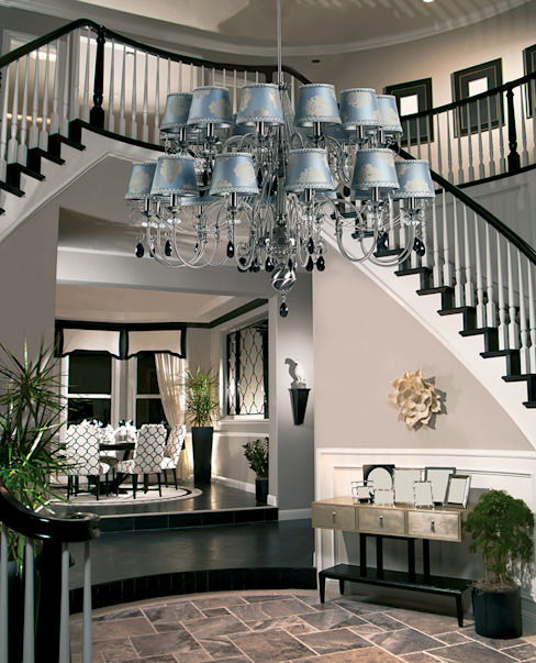 large luxury chandelier with double tier Luca decorated by Swarovski crystals Classic style corridor, hallway and stairs by Luxury Chandelier Classic Copper/Bronze/Brass