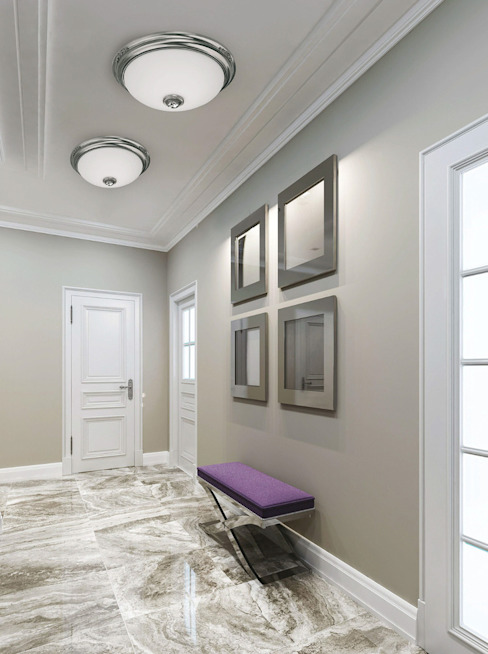Flush ceiling lights with white milk glass and Swarovski crystal, made of brass with nickel finishes Classic style corridor, hallway and stairs by Luxury Chandelier Classic Copper/Bronze/Brass