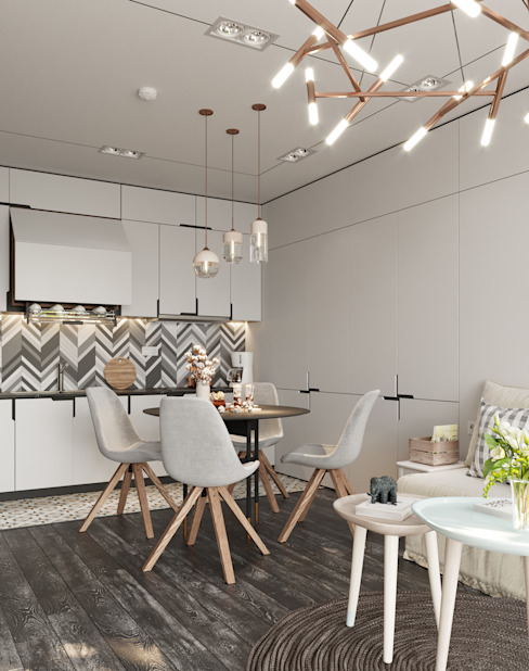 Кухня Студия 3D визуализации Интерьера и Экстерьера Кухонные блоки Дерево Бежевый