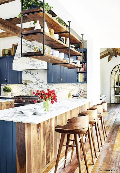 Wood and Marble with some added colors to a Beautiful Kitchen by Rebel Designs Modern Wood Wood effect