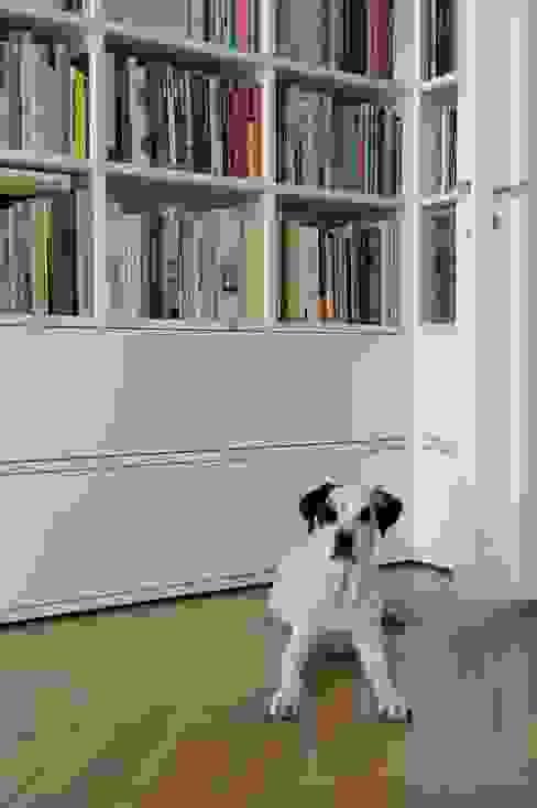 GANTZ - Bibliothek nach Maß um Tür mit geschlossenem Stauraum: modern  von GANTZ - Regale und Einbauschränke nach Maß,Modern Holzwerkstoff Transparent