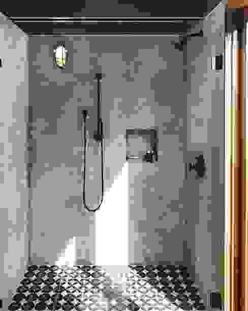 3BHK home in Mumbai Rebel Designs Rustic style bathroom Tiles Grey