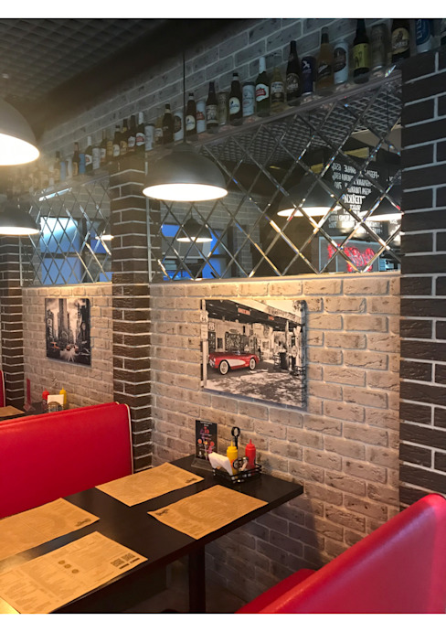 Двери и перегородки ресторан БУРГЕР КУЛЬТ Стены и пол в стиле модерн от СТЕКЛОВИЧ Модерн Стекло