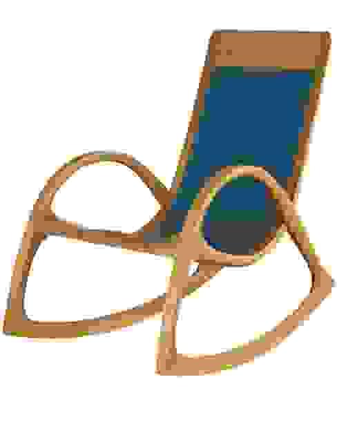 Schaukelstuhl aus Holz mit blauem Leder Moderne Arbeitszimmer von Holzarbeiten André Findeisen Modern Holz Holznachbildung