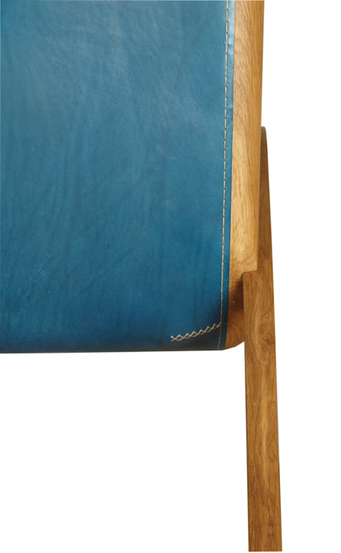 Schaukelstuhl aus Holz mit blauem Leder Moderne Wohnzimmer von Holzarbeiten André Findeisen Modern Holz Holznachbildung