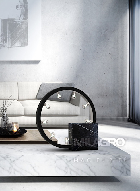Designer end table lamp made of black marble Modern living room by Luxury Chandelier Modern Marble