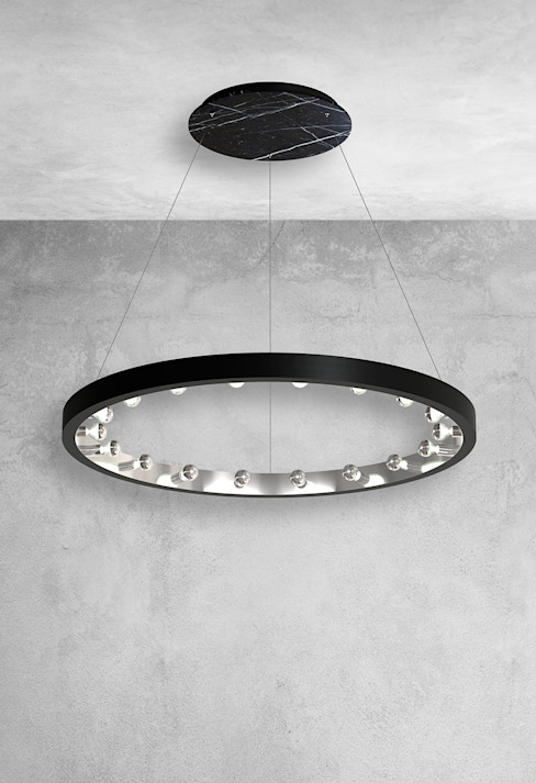Large ceiling pendant 18 lights in black marble: modern  by Luxury Chandelier, Modern Marble