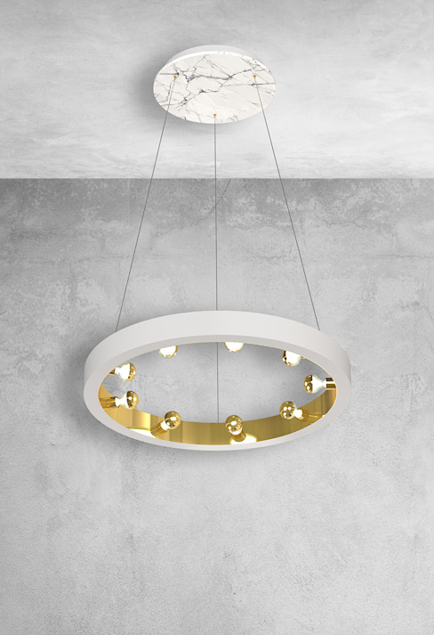 White marble kitchen island ceiling light: modern  by Luxury Chandelier, Modern Marble