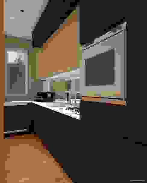Render di una cucina in ristrutturazione - prima vista di CLARE studio di architettura Moderno