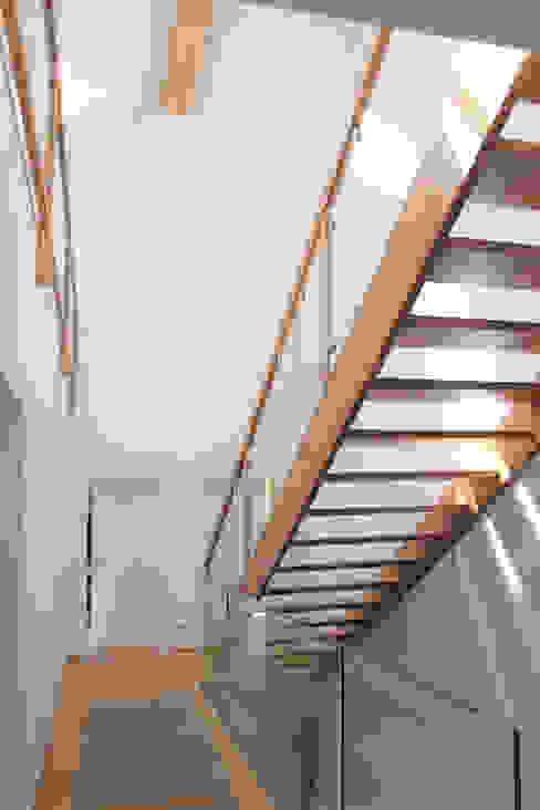 offene Holztreppe: modern  von archipur Architekten aus Wien,Modern Holz Holznachbildung