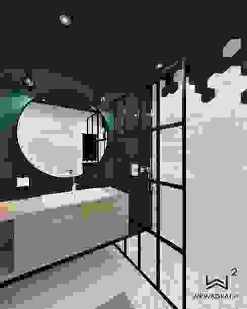 Łazienka w stylu loftowym Industrialna łazienka od Wkwadrat Architekt Wnętrz Toruń Industrialny Płytki