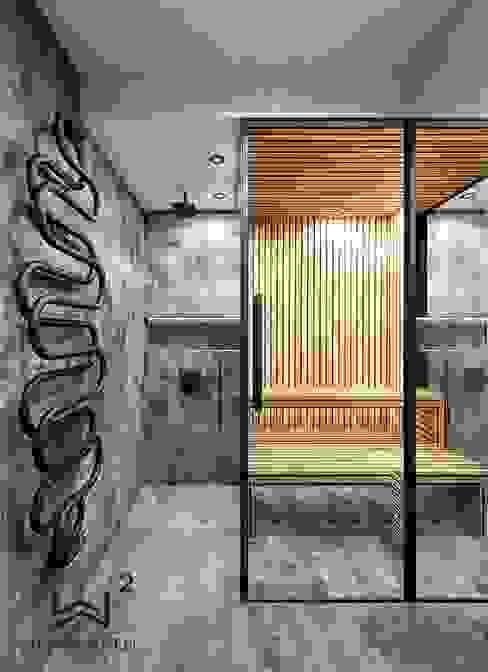 Sauna Wkwadrat Architekt Wnętrz Toruń Industrialna łazienka Drewno O efekcie drewna