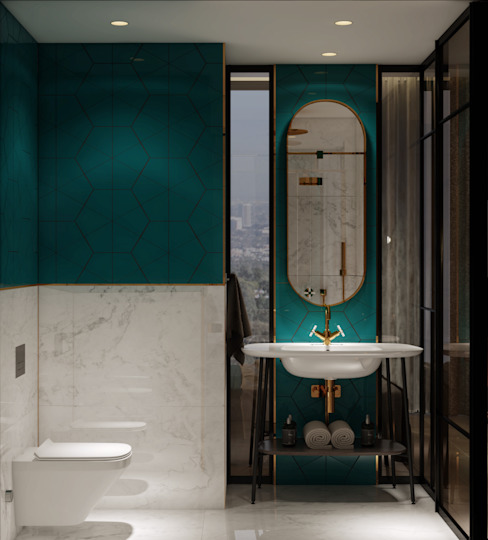 OTEL PROJESİ WALL INTERIOR DESIGN Modern Banyo