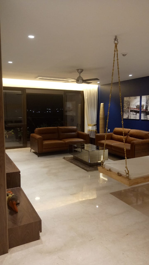 Interior work of 4.5 BHK apartment in kharadi, pune Modern living room by Exemplary Services Modern