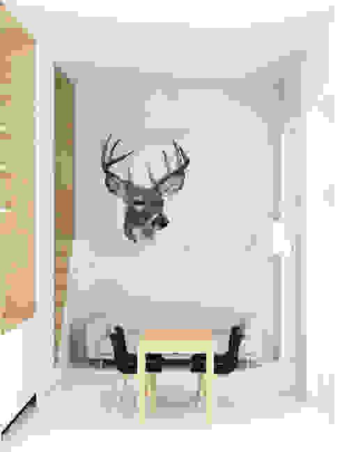 Kleine loft met scadinavische stijl Studio Jonna Klumpenaar Scandinavische woonkamers Hout Wit