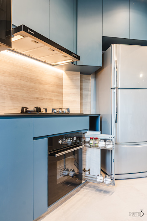 "Project 5i Resale Hdb ""Bright & Bluish Scandi"" Scandinavian style kitchen by Chapter 3 Interior Design Scandinavian"