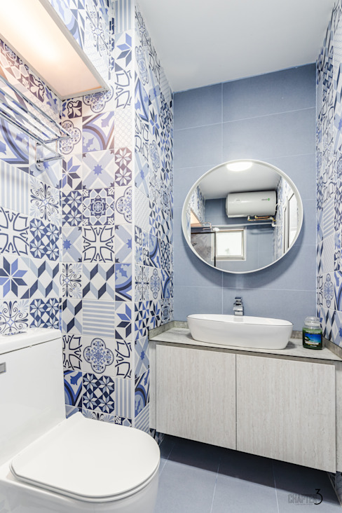 "Project 5i Resale Hdb ""Bright & Bluish Scandi"" Scandinavian style bathroom by Chapter 3 Interior Design Scandinavian"