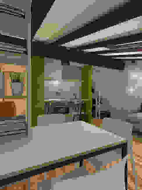 Zona giorno Sala da pranzo moderna di ibedi laboratorio di architettura Moderno Legno Effetto legno