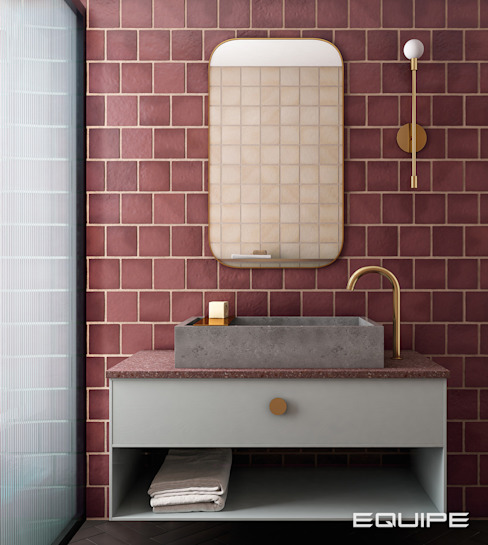 Equipe Ceramicas Industrial style bathroom Tiles Red