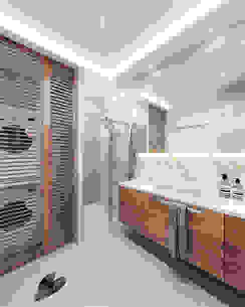 Umywalka Nowoczesna łazienka od Wkwadrat Architekt Wnętrz Toruń Nowoczesny Kamień