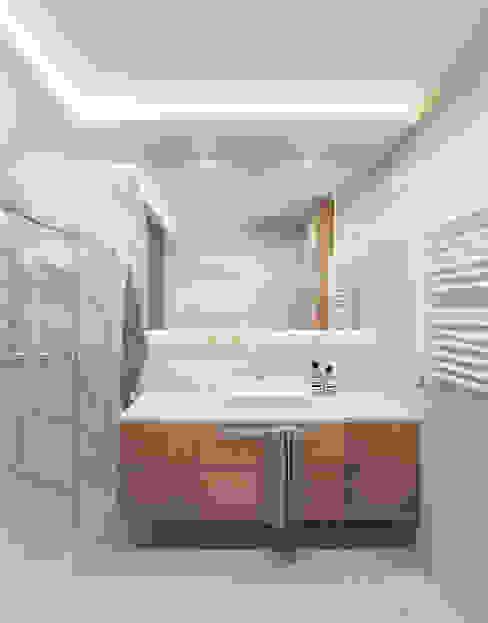 Lustrzana szafka Nowoczesna łazienka od Wkwadrat Architekt Wnętrz Toruń Nowoczesny Drewno O efekcie drewna