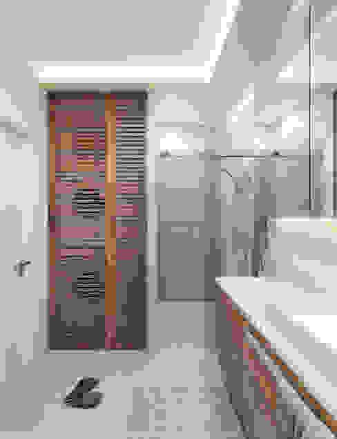 Pralka z suszarką Nowoczesna łazienka od Wkwadrat Architekt Wnętrz Toruń Nowoczesny Beton