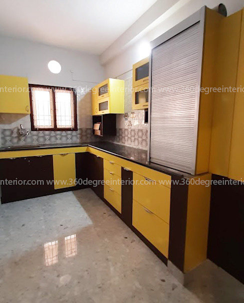 Modular Kitchen 360 Degree Interior Kitchen units Plywood Yellow