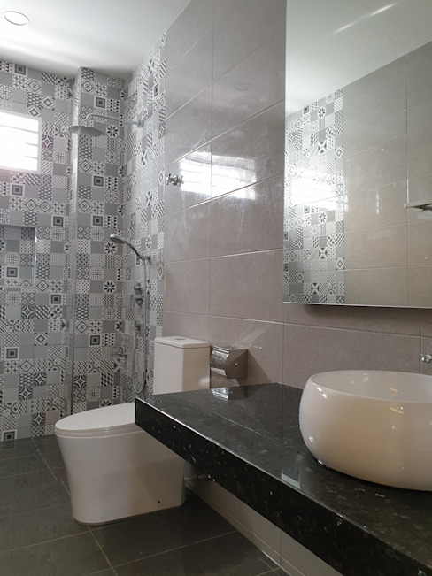 Rebuild intermediate single story terrace to double story. Dterri Interior Design Asian style bathrooms