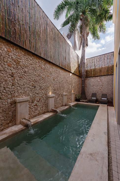Piscina Taller Estilo Arquitectura Albercas modernas Piedra Beige