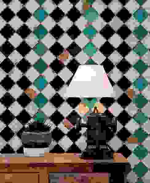 Tourquoise chess Carta da parati degli anni 70 Pareti & Pavimenti eclettiche