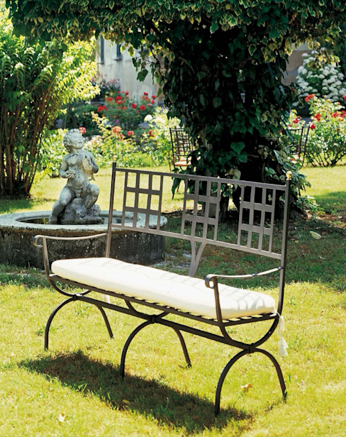 wrought iron garden bench VillaDorica Garden Furniture آئرن / اسٹیل Grey