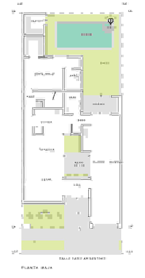 Plano Planta Baja Casas de estilo minimalista de ARBOL Arquitectos Minimalista