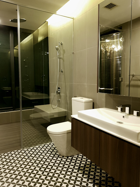 Ampersand Condo DFO Resources (M) Sdn Bhd Asian style bathrooms Tiles Beige