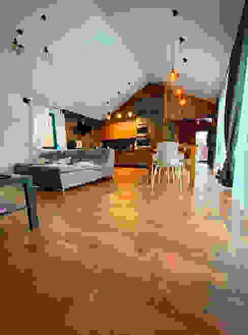 Проект одноэтажного барнхауса «Вермеер» Гостиная в скандинавском стиле от ARTBARN.RU: строительство барнхаусов Скандинавский