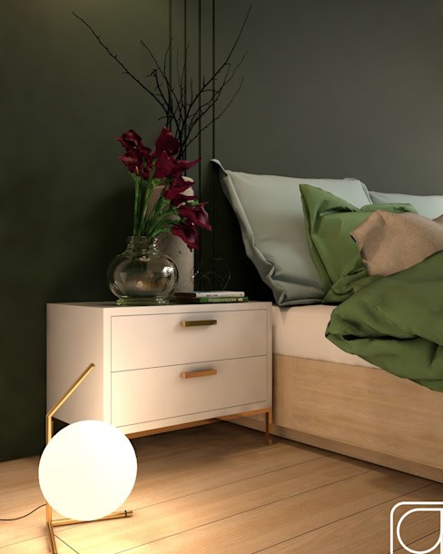 Shades of Green and Calla Lilies ra studio Modern style bedroom