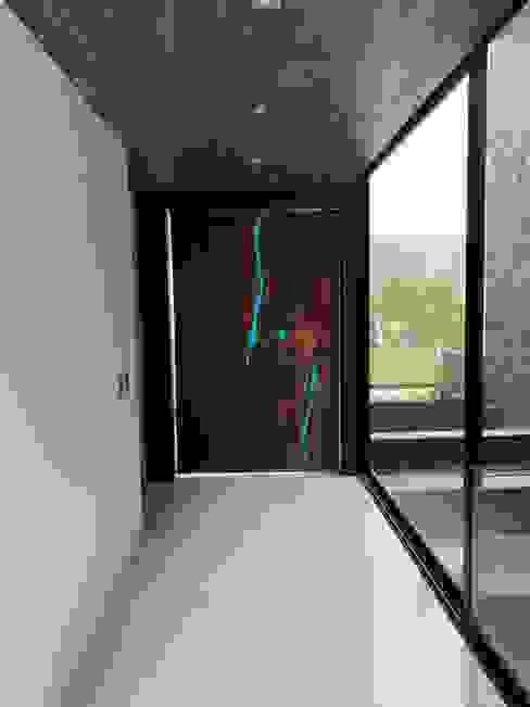 Puerta entrada con aplicación de resina azul Parota Viva Puertas estilo clásico Madera Acabado en madera