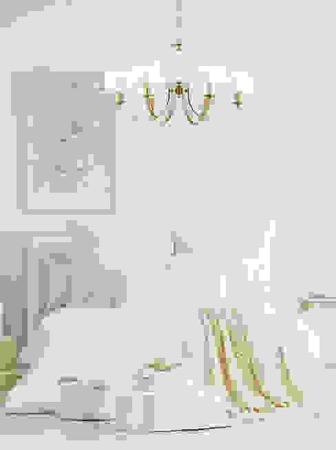 White bedroom with elegant Chandelier Lighting ZEVIO 6 Lights Bedroom Luxury Chandelier LTD BedroomLighting Perunggu White