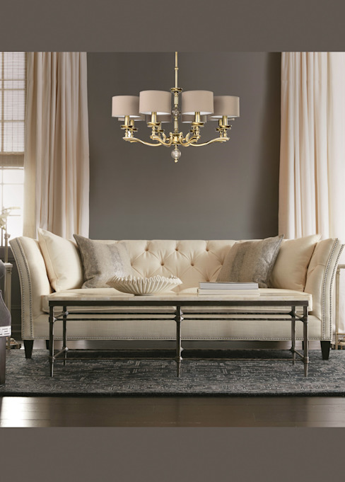 Living room idea with chandelier in brushed brass with beige lamp shade from TIVOLI collection Luxury Chandelier LTD Modern living room Copper/Bronze/Brass Amber/Gold