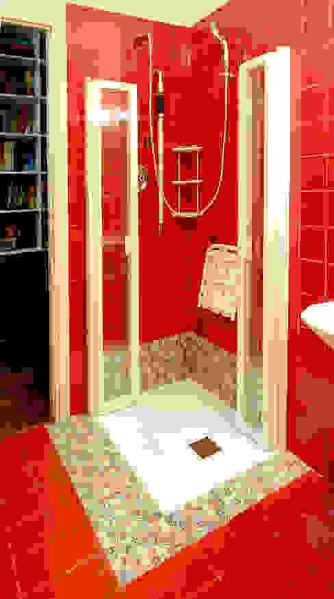 Post realizzazione Studio Massetto Bagno moderno Rosso