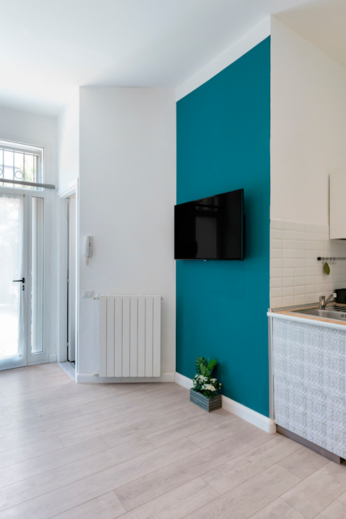 Zona giorno antonio felicetti architettura & interior design Soggiorno moderno Cemento Bianco