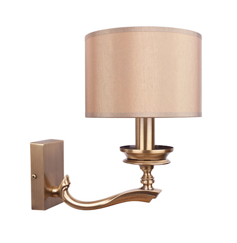 Classic Brass Wall Light TIVOLI With Patina Finish And Brown Shade Luxury Chandelier Corridor, hallway & stairsLighting Copper/Bronze/Brass Metallic/Silver