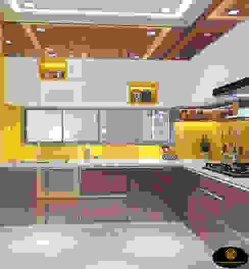 Mr. Tarun Ganguli's Modern Modular Kitchen, Bally, Howrah CUSTOM DESIGN INTERIORS PVT. LTD. Modern kitchen Iron/Steel Amber/Gold