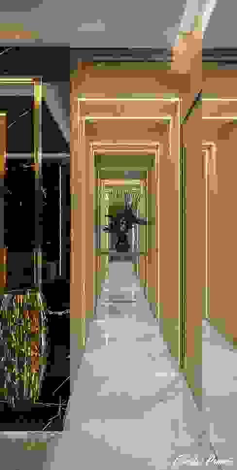 Circulação Camila Pimenta | Arquitetura + Interiores Corredores, halls e escadas modernos Madeira Bege